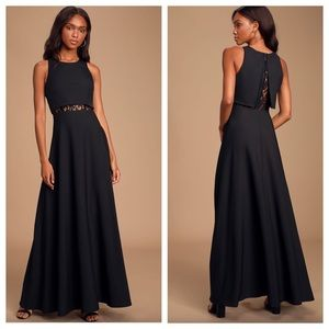 Lulu's True Lover Black Lace Backless Maxi Dress.